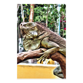 Lizard on a branch personalized stationery