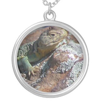 Lizard on Rock Round Pendant Necklace