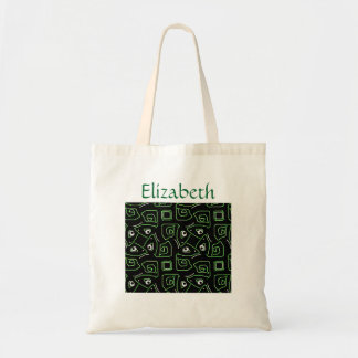 Lizard Pattern in Green and Black with Your Name Tote Bag