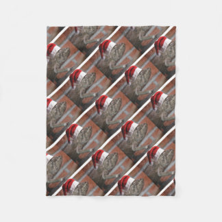 Lizard-Santa-Hat Fleece Blanket