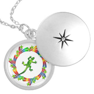 Lizard Stars Locket Necklace