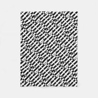 LIZARD WHITE $ BLACK STRAP FLEECE BLANKET