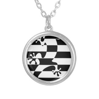 LIZARD WHITE $ BLACK STRAP SILVER PLATED NECKLACE