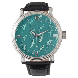 Lizards and Geckos, on teal blue Wristwatch