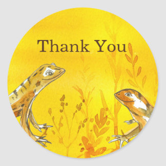 Lizards Watercolor Yellow Thank You Classic Round Sticker