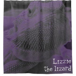 Lizzie the lizard Fun Bearded Dragon Neon Purple Shower Curtain