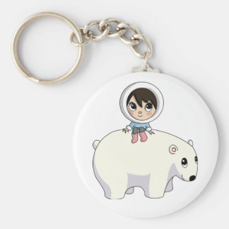 Lizzy and Frosting the Polar Bear Basic Round Button Key Ring