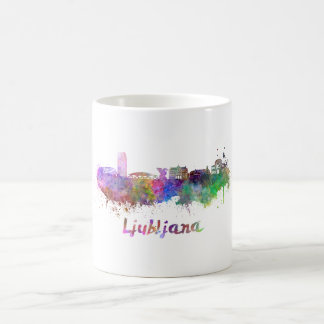 Ljubljana skyline in watercolor coffee mug