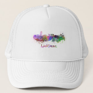 Ljubljana skyline in watercolor trucker hat