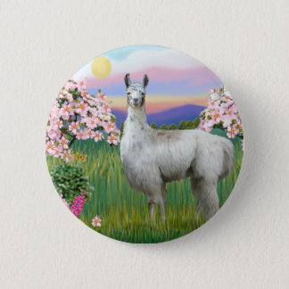 Llama and Spring Blossoms 6 Cm Round Badge