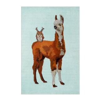 LLAMA & ANTLER OWL ACRYLIC WALL ART