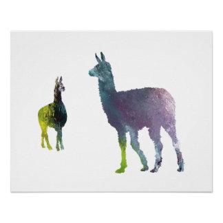 Llama art poster
