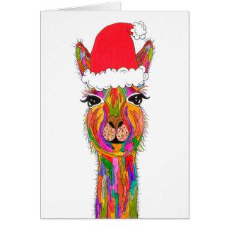 Llama Christmas Greeting Card (You can Customise)