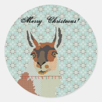 Llama Christmas Round Sticker