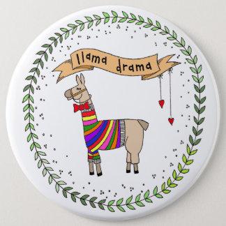 Llama Drama Badge, Rainbow Llama 6 Cm Round Badge