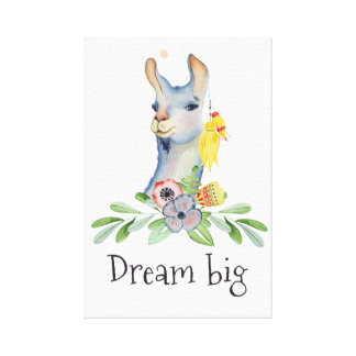 Llama,dream big canvas print