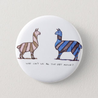 llama dress 6 cm round badge