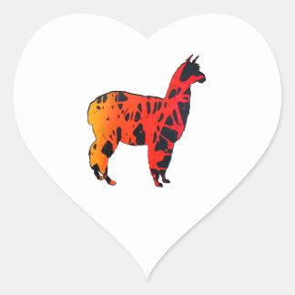 Llama Expressions Heart Sticker