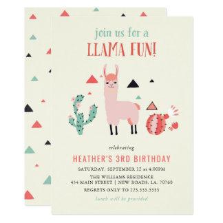 Llama Fun Birthday Party Card