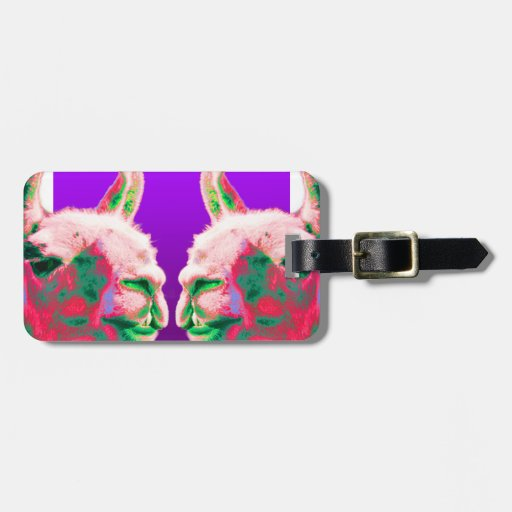Llama Heads in a Bright Contemporary Graphic Tag For Luggage