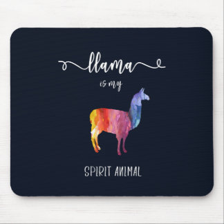 Llama is my spirit animal. Funny Cute Watercolor Mouse Pad