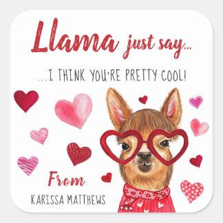 Llama Just Say   Personalised Valentine Stickers