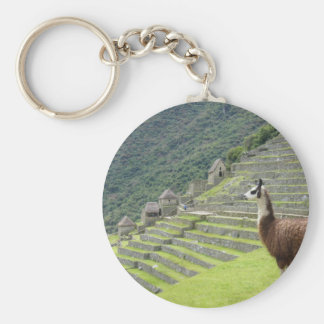 llama lands basic round button key ring
