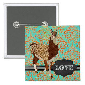Llama Love Damask Button