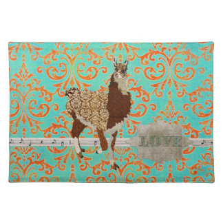 Llama Love Damask  Placemat