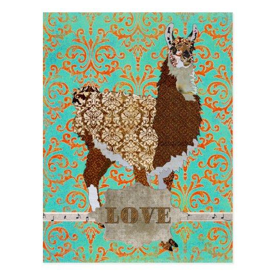 Llama Love Damask  Postcard
