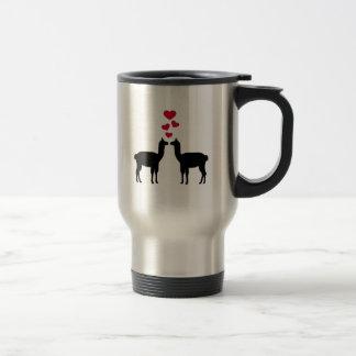 Llama love red hearts mug