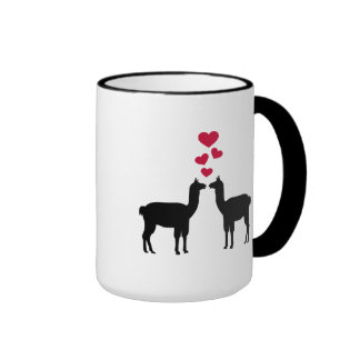 Llama love red hearts mugs