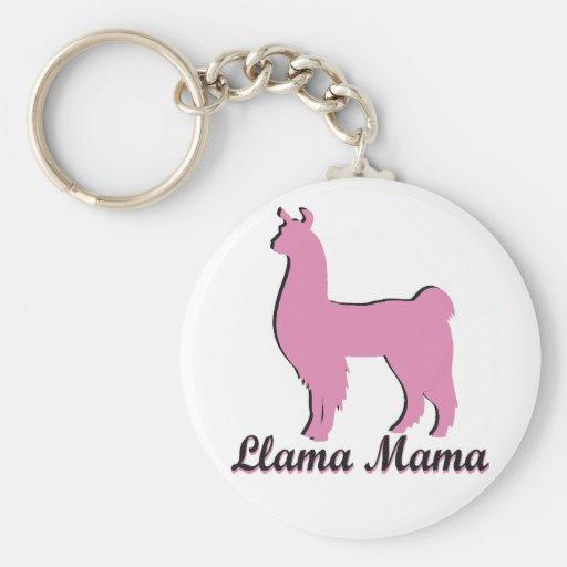 Llama Mama Basic Round Button Key Ring