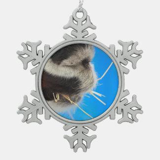 llama mouth eating hay blue back farming snowflake pewter christmas ornament