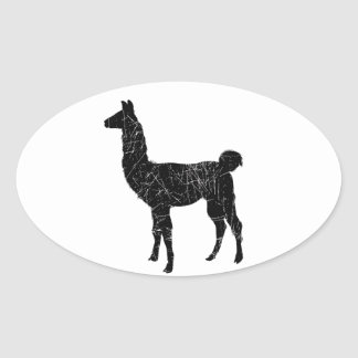 Llama Oval Sticker