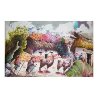 llama picture Peru village Poster