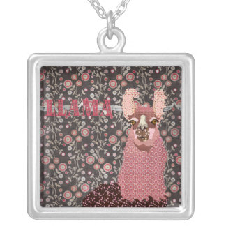 Llama Pink & Brown Floral Necklace
