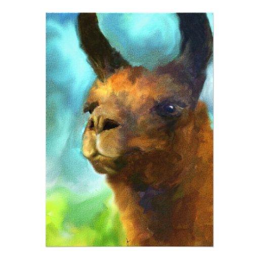 Llama Portrait 5x7 Mini Prints Personalized Announcement