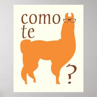 Llama Quote Poster Print: Como te llama(s)