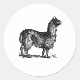 Llama Sketch Design Round Stickers