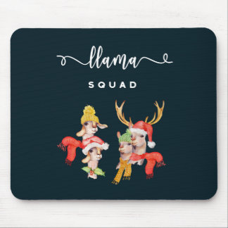 Llama Squad, Christmas Hats Watercolor Calligraphy Mouse Pad