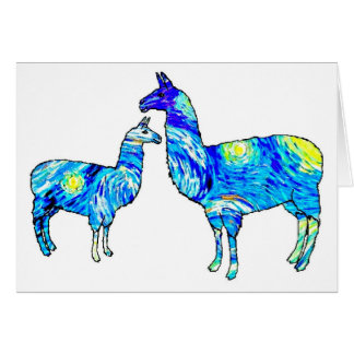 Llama Starry Night, Greeting Card