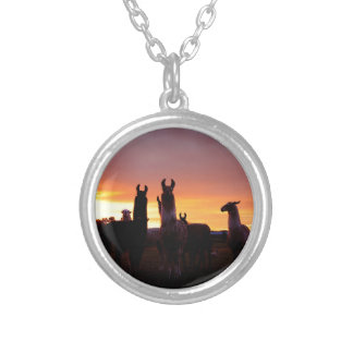 Llama Sunrise Silver Plated Necklace