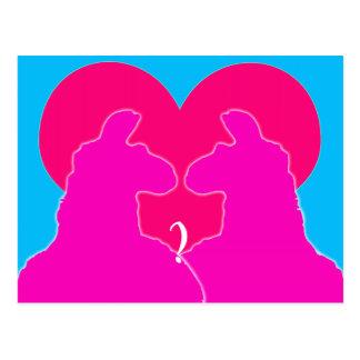 Llama Valentine Love-Big Red Heart Postcard
