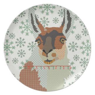 Llama Vintage Green Snowflake Plate