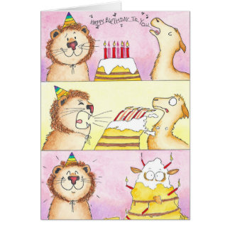 Llama VS Lion Birthday greeting card