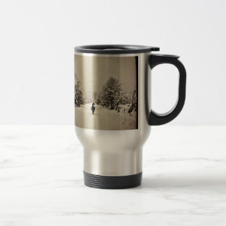 llama winter stainless steel travel mug