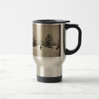 llama winter stainless steel travel mug