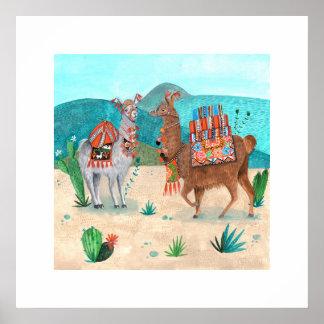 Llamas | Blue Naturals | Poster