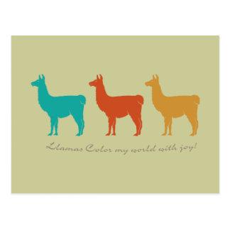Llamas Color My World with Joy Postcard